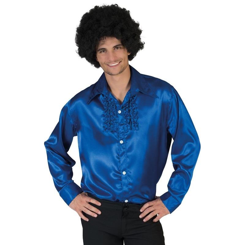 Voordelige blauwe rouche blouse voor heren