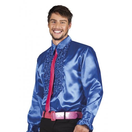 Voordelige blauwe rouche blouse