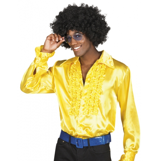 Voordelige gele rouche blouse