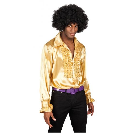 Voordelige gouden rouches blouse