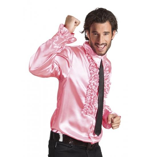 Voordelige lichtroze rouche blouse