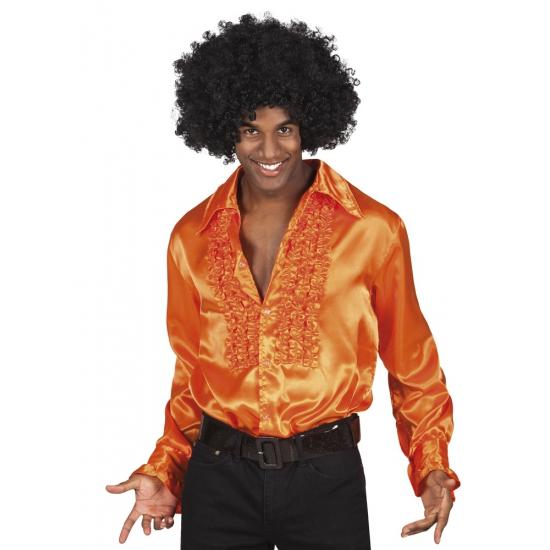 Voordelige oranje rouche blouse