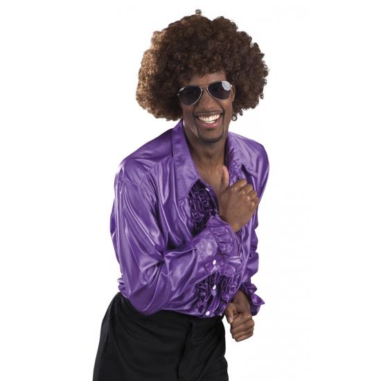 Voordelige paarse rouche blouse