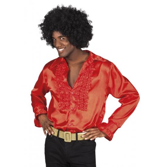 Voordelige rode rouche blouse