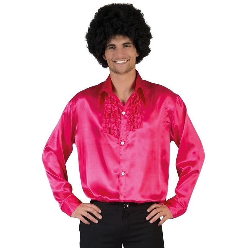 Voordelige roze rouche blouse voor heren