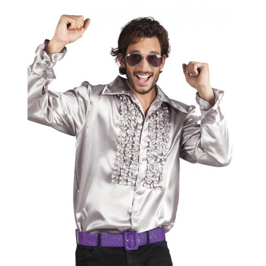 Voordelige zilveren rouche blouse