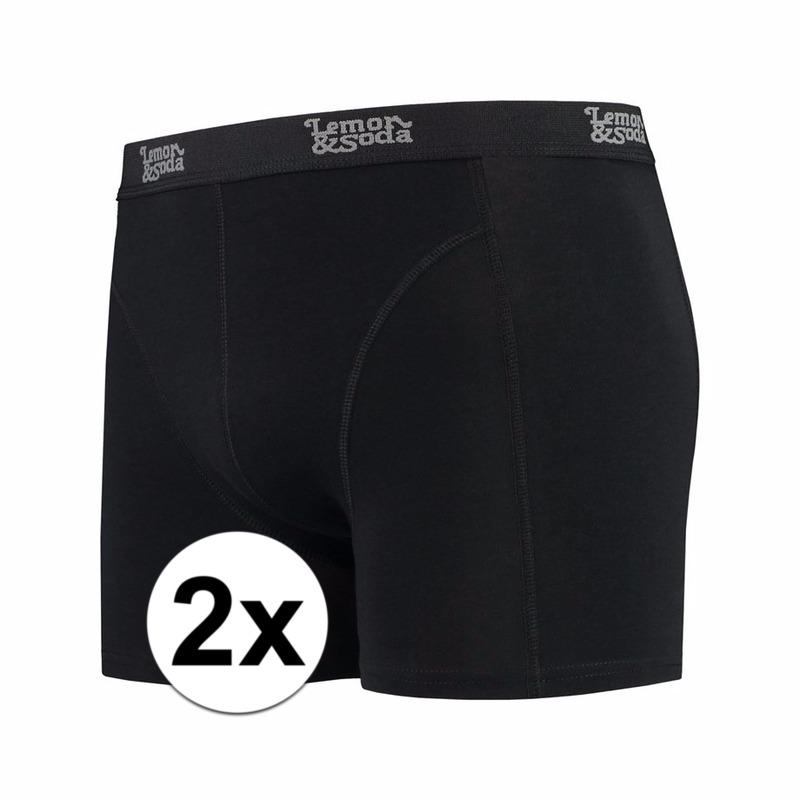 Voordelige zwarte boxershorts 2-pak Lemon and Soda