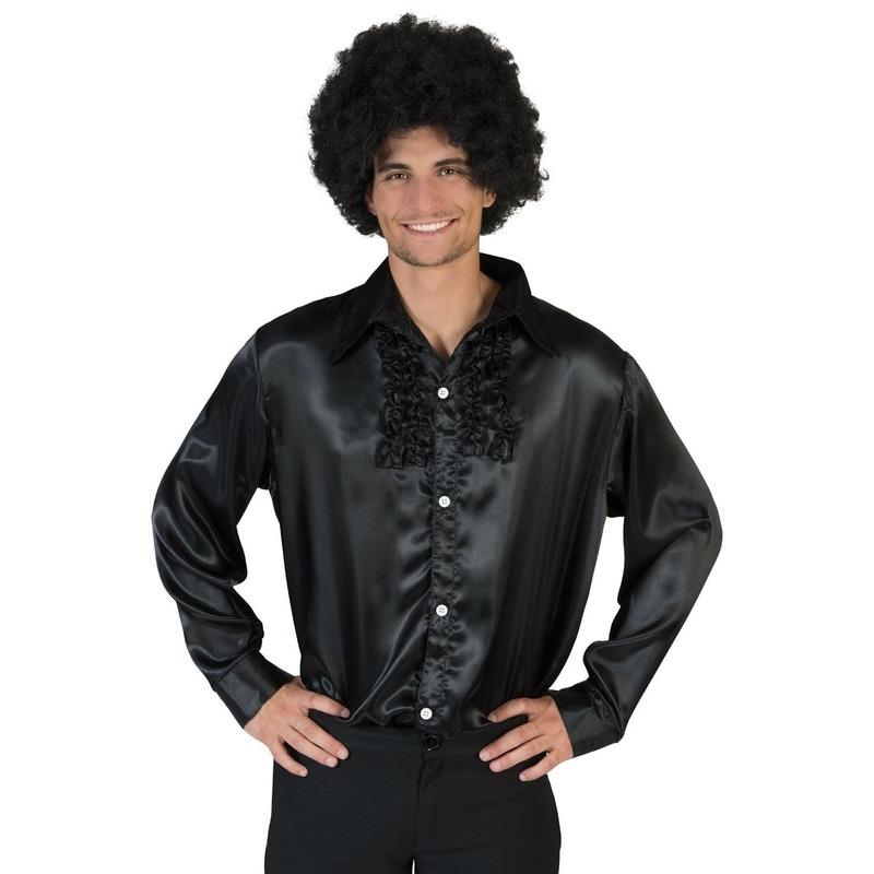 Voordelige zwarte rouche blouse voor heren