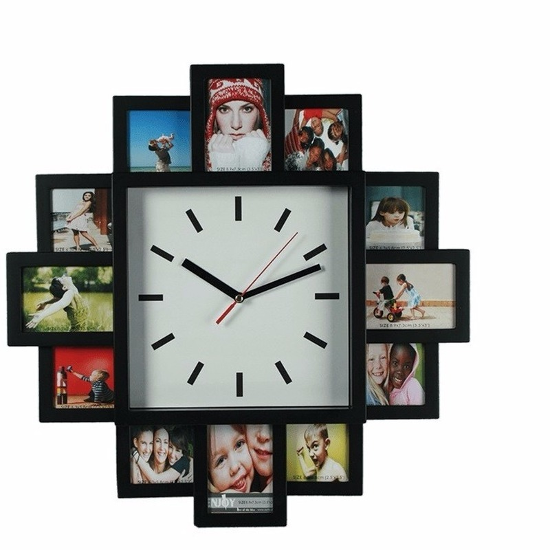 Wandklok met 12 foto frames
