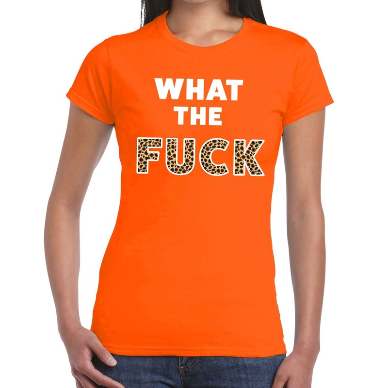 What the Fuck tijgerprint tekst t-shirt oranje dames