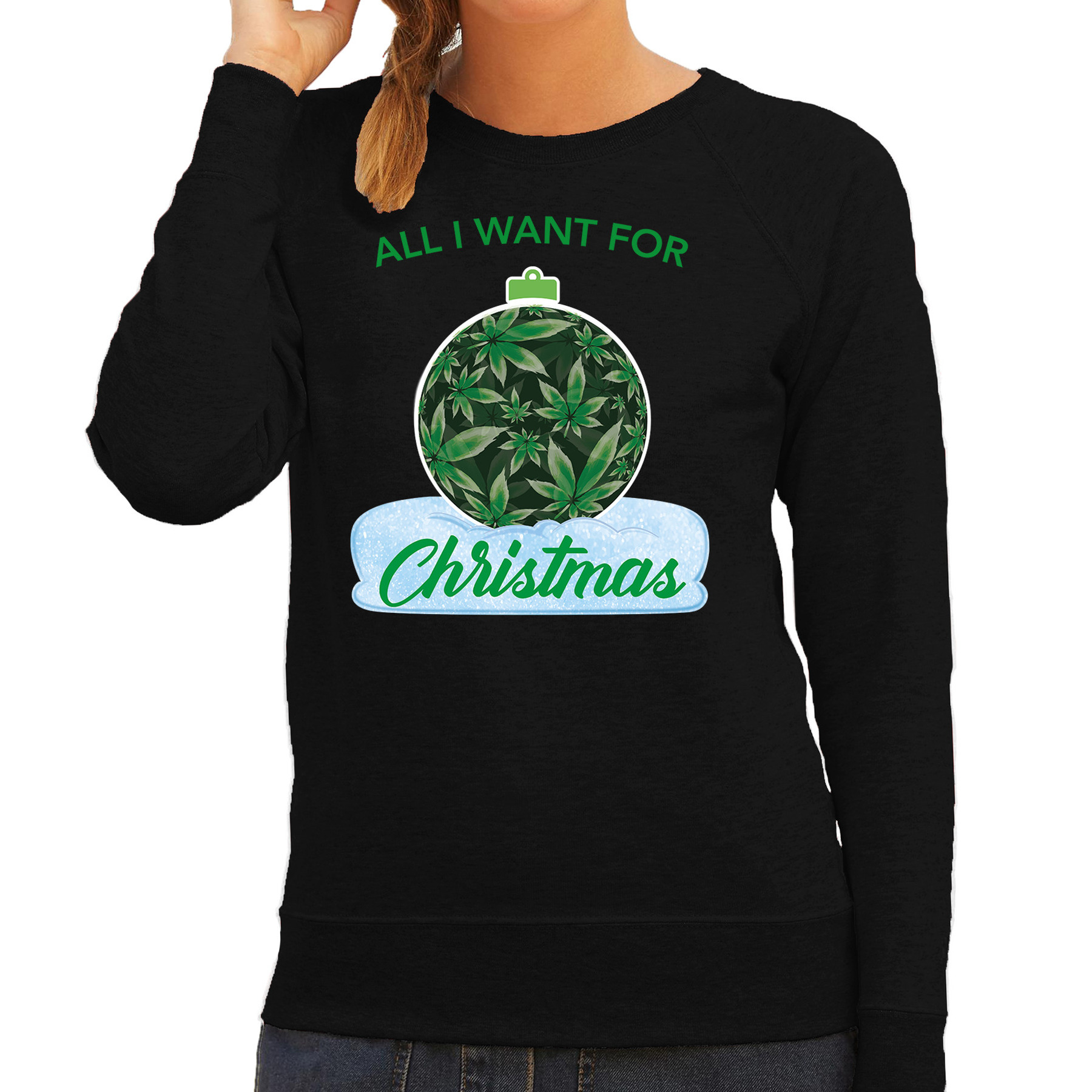 Wiet Kerstbal sweater - outfit All i want for Christmas zwart voor dames