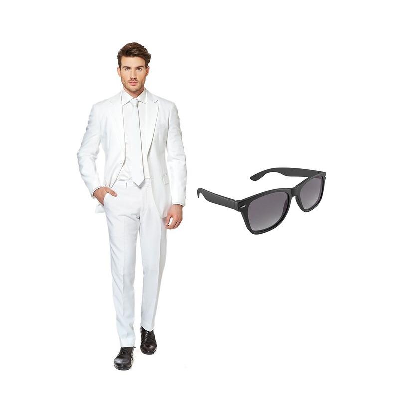 Wit heren kostuum maat 54 (XXL) met gratis zonnebril