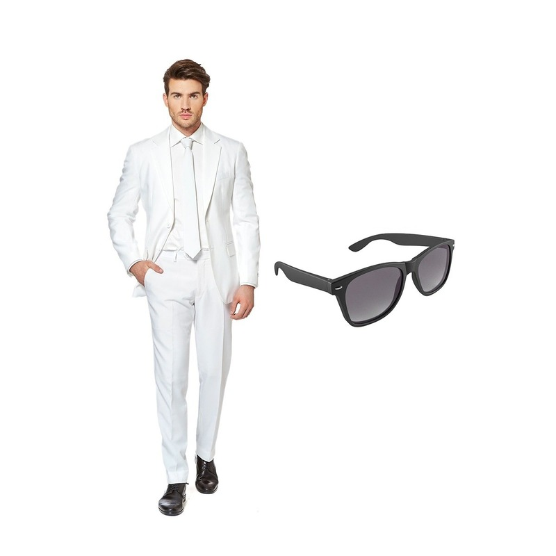 Wit heren kostuum maat 58 (XXXXL) met gratis zonnebril