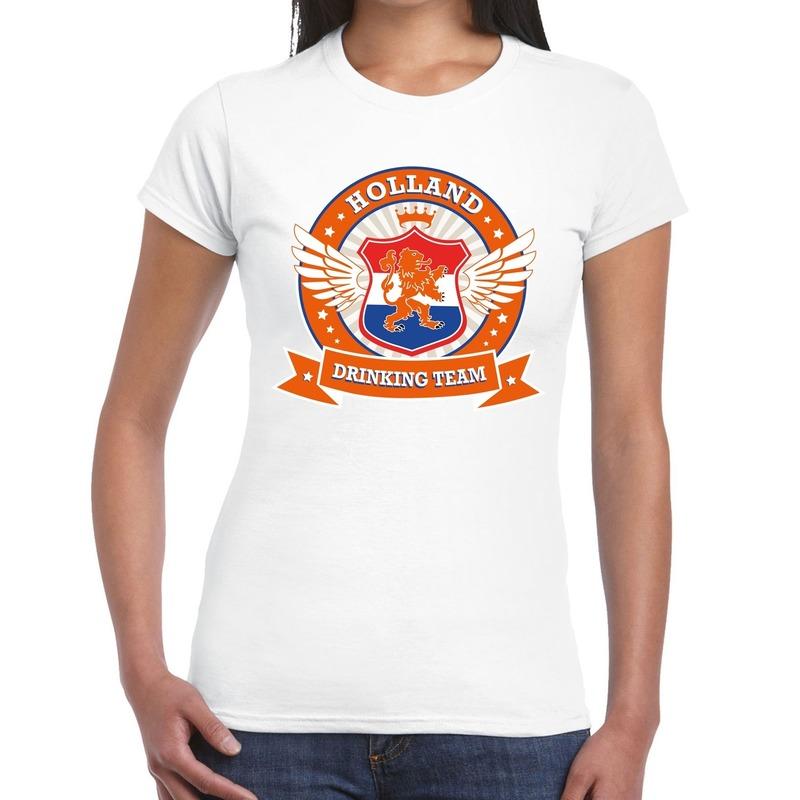 Wit Holland drinking team t-shirt dames