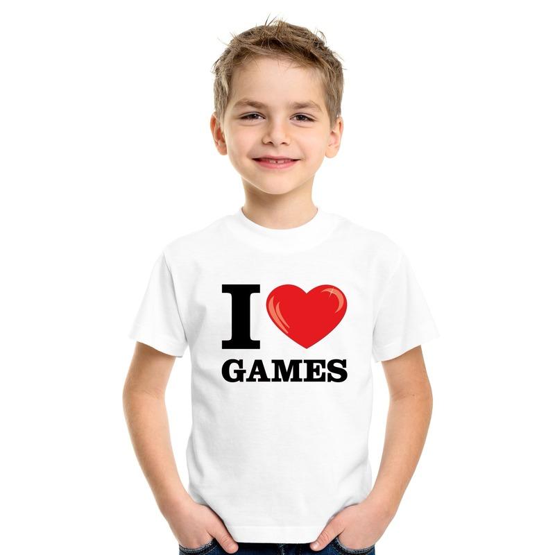 Wit I love games t-shirt kinderen