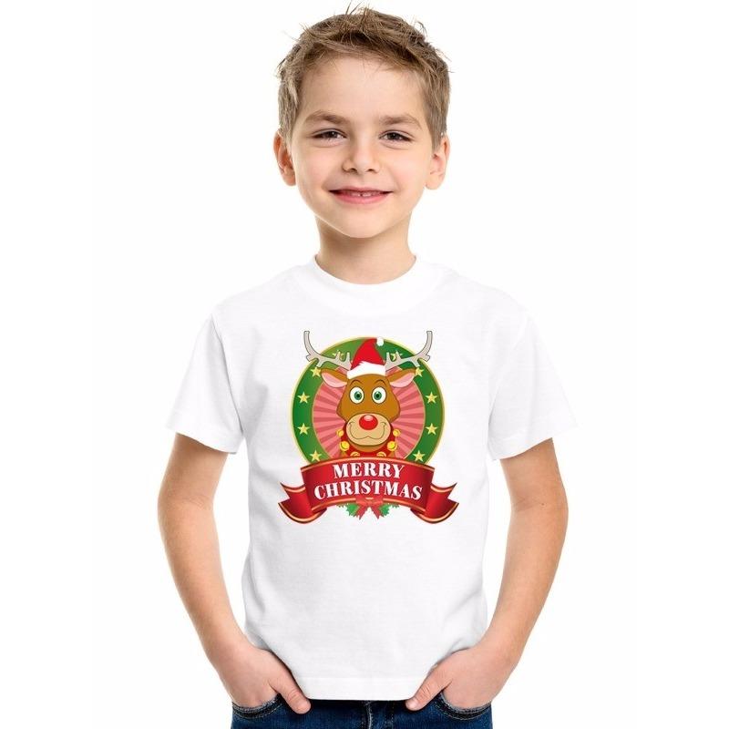 Wit Kerst t-shirt voor kinderen met een rendier