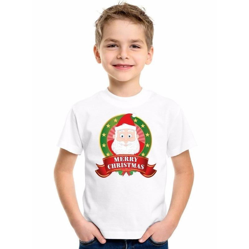 Wit Kerst t-shirt voor kinderen met Kerstman print