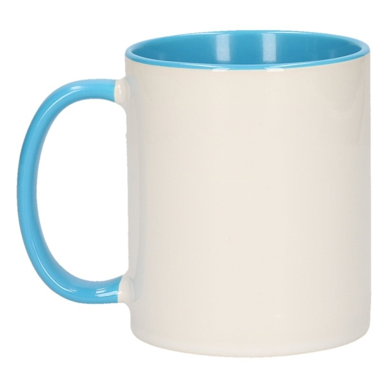 Wit met lichtblauwe blanco mok