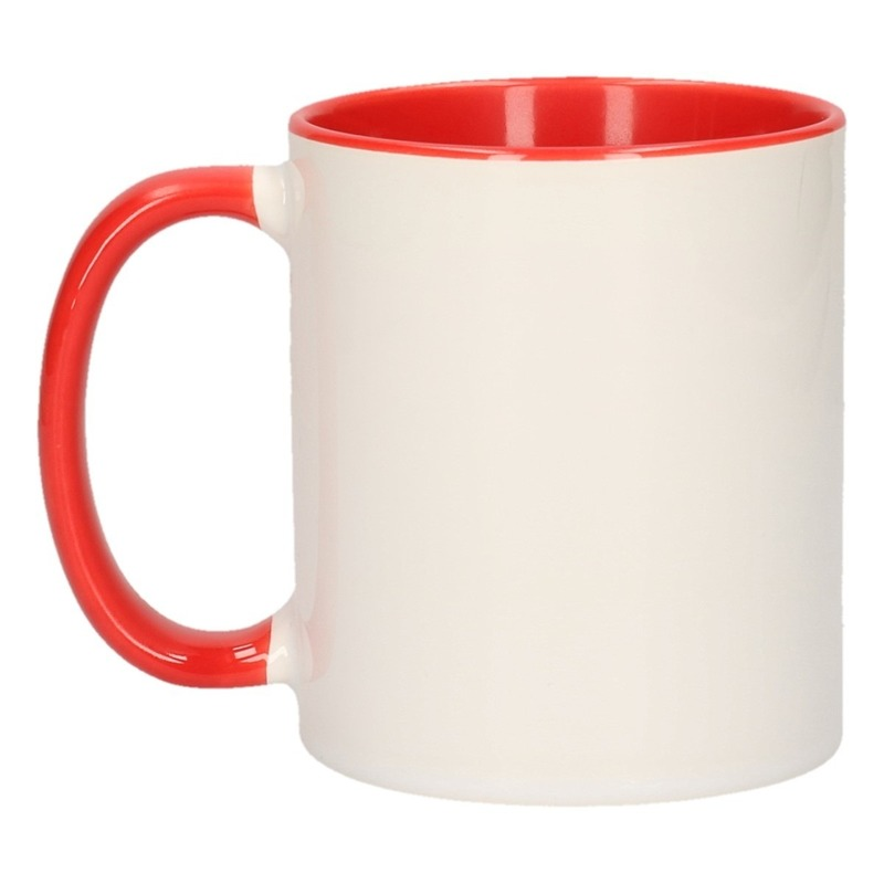 Wit met rode blanco mok