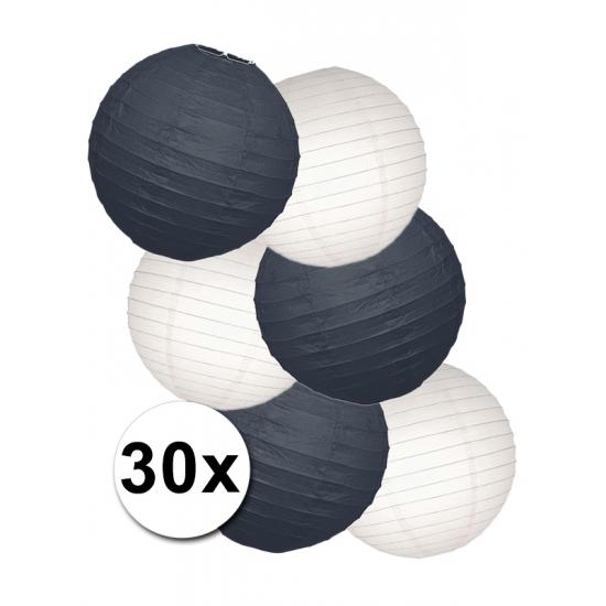 Wit met zwarte lampionnen pakket 30 stuks