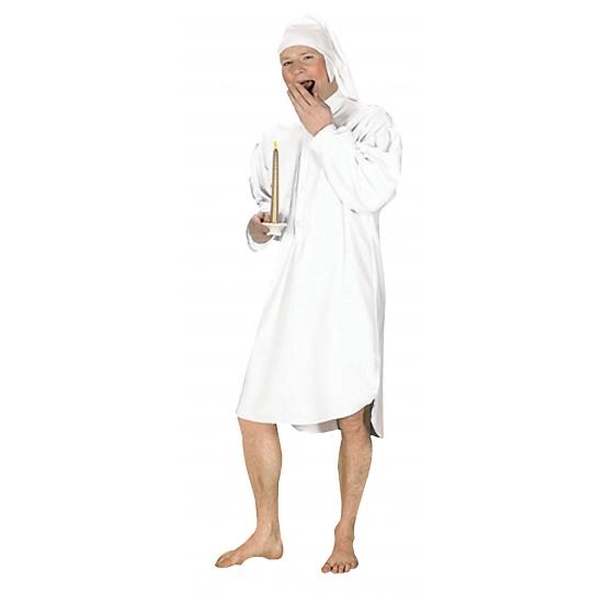 Wit ouderwets nachthemd voor heren