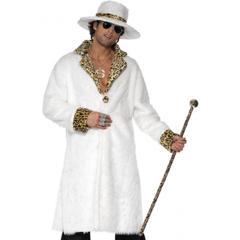 Wit pooier kostuum voor heren