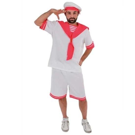 Wit/roze matrozen kostuum voor heren