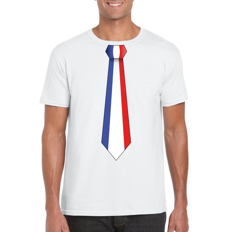 Wit t-shirt met Frankrijk vlag stropdas heren