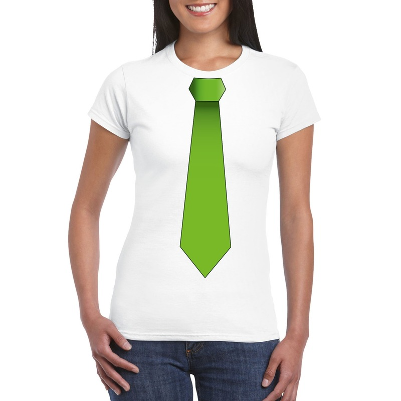 Wit t-shirt met groene stropdas dames