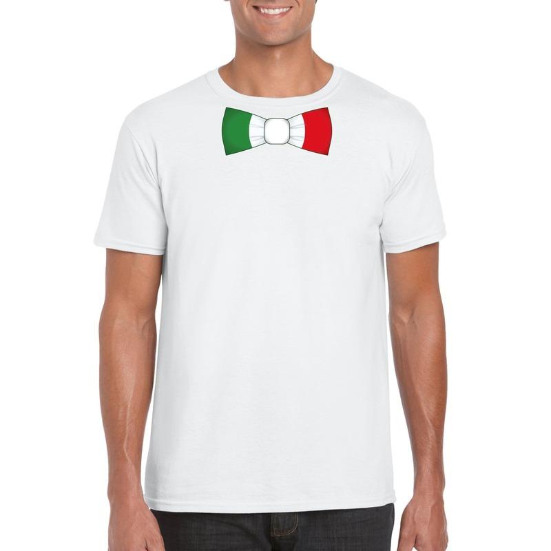 Wit t-shirt met Italie vlag strikje heren