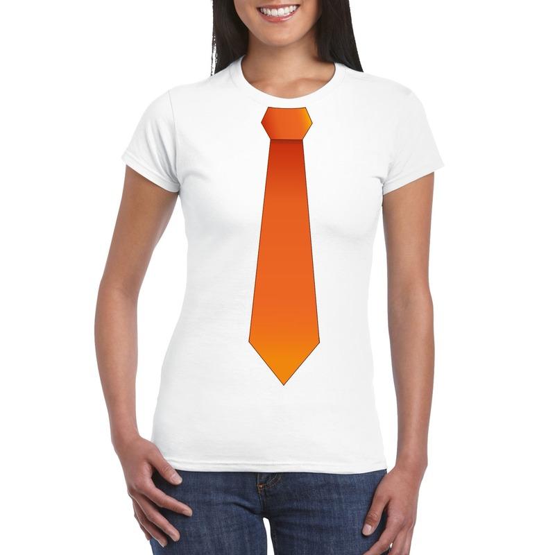 Wit t-shirt met oranje stropdas dames