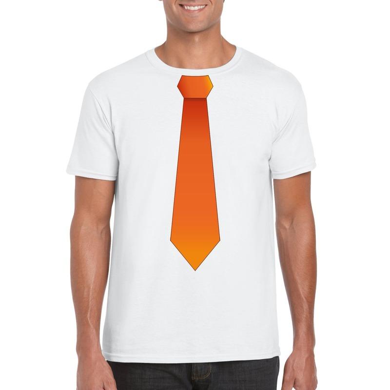 Wit t-shirt met oranje stropdas heren