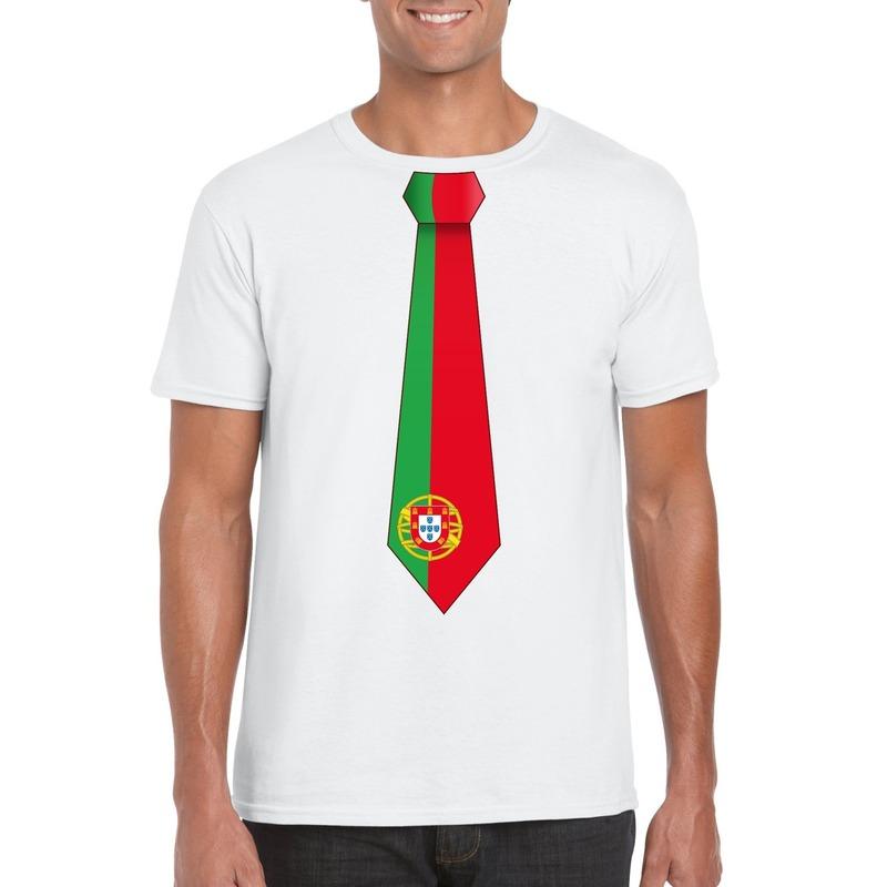 Wit t-shirt met Portugal vlag stropdas heren