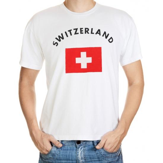 Wit t-shirt Zwitserland heren