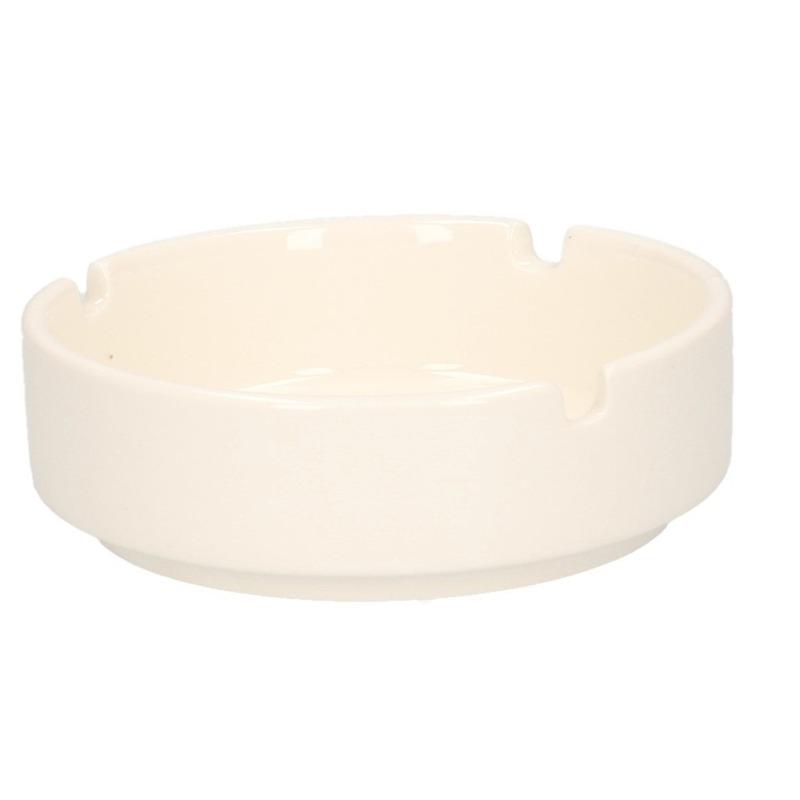 Witte asbak van porselein 10 cm