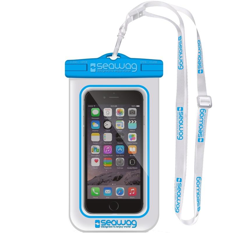 Witte/blauwe waterproof hoes voor smartphone/mobiele telefoon