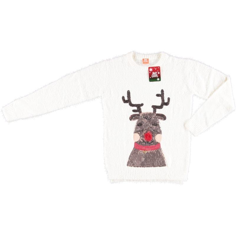 Witte dames kersttrui met rendier L - kerst truien