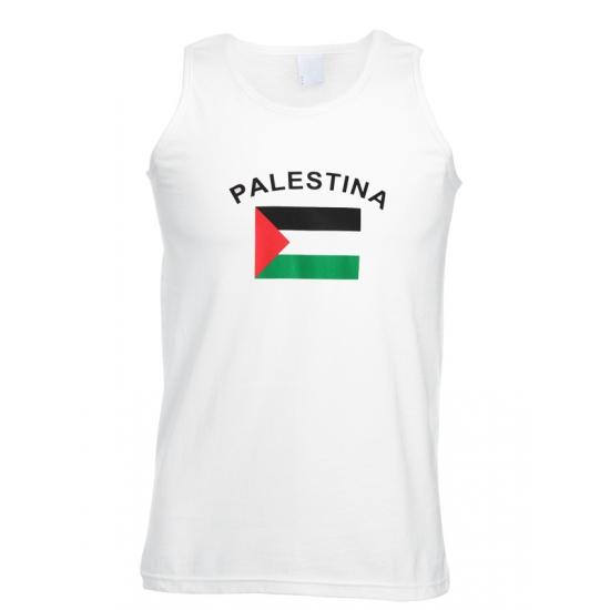 Witte heren tanktop met vlag Palestina