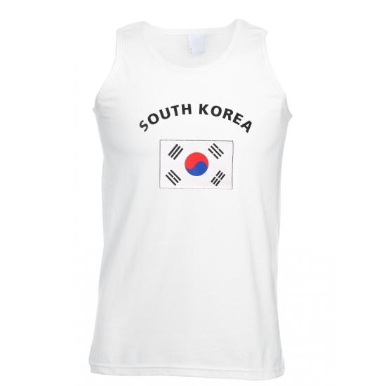 Witte heren tanktop Zuid Korea