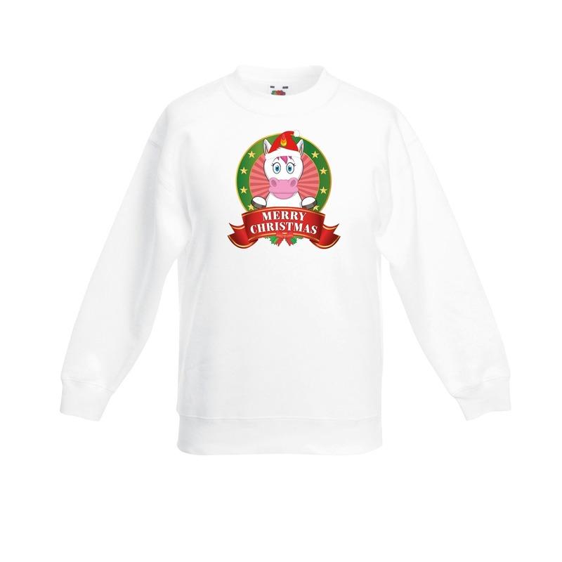 Witte Kerst sweater - Kersttrui kinderen met een eenhoorn