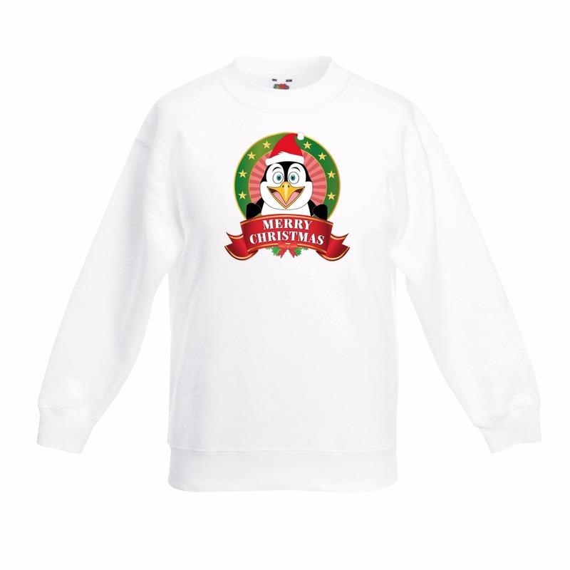 Witte Kerst sweater kinderen met een pinguin