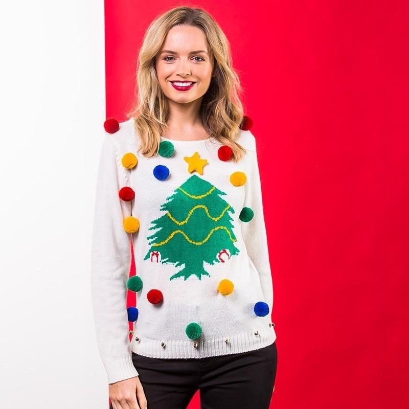 Witte Kersttrui.Maffe Truien Nl Witte Kerst Trui 3d Kerstboom Voor Dames M 38 Wit