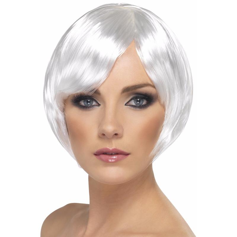Witte korte dames pruik Wit