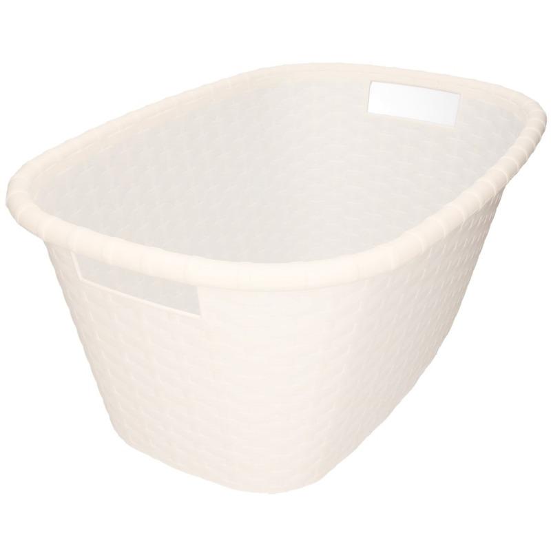Witte kunststof wasmand 35 liter