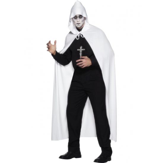 Witte lange cape met capuchon