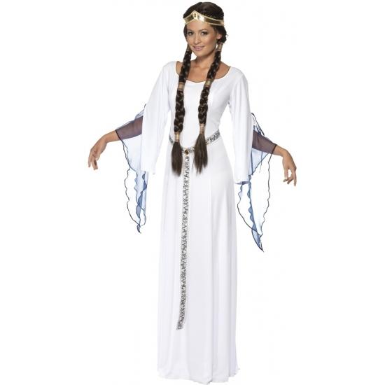 Witte lange middeleeuwse jurk verkleed kostuum voor dames