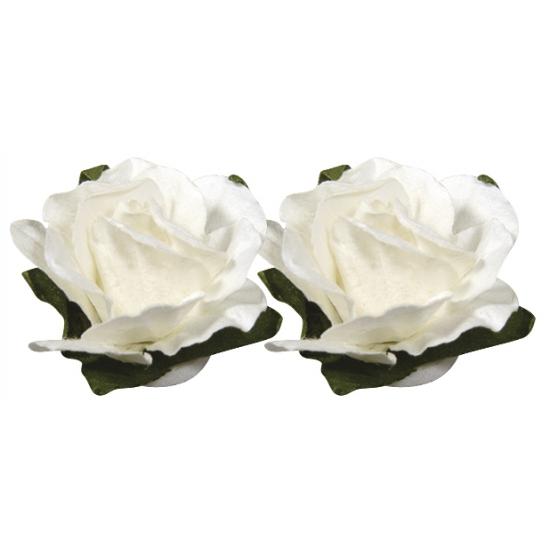 Witte papieren bloemetjes 1,5 cm