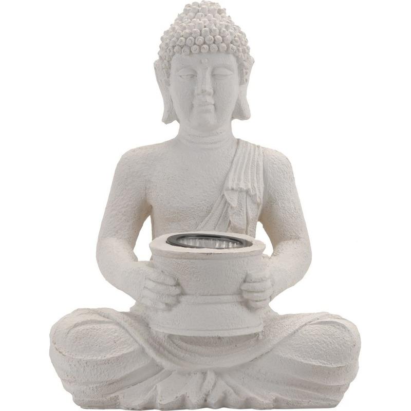 Witte solar Boeddha beeld tuinverlichting 31 cm - Tuinbeelden