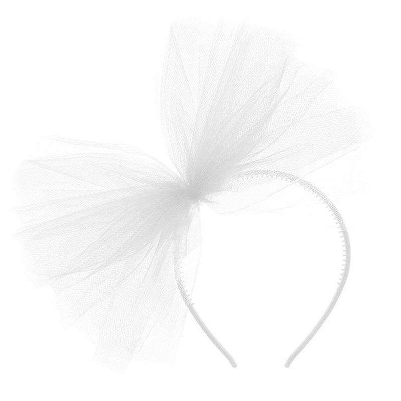 Witte verkleed diadeem met tule strik voor dames
