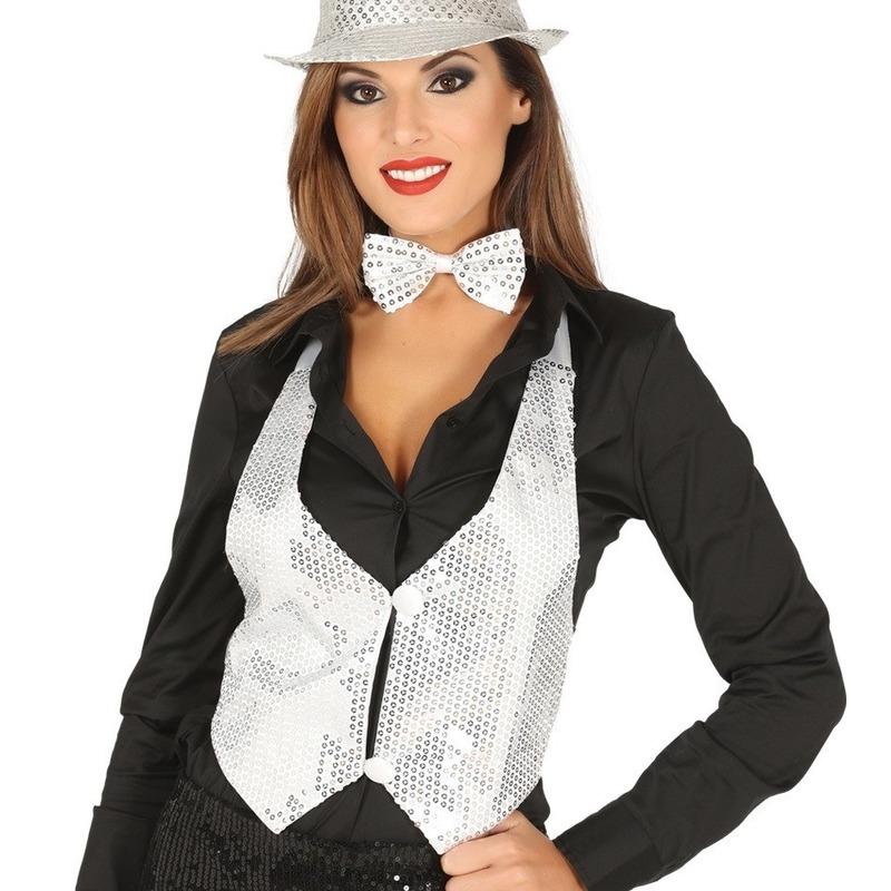 Witte verkleed gilet met pailletten maat 38/40 voor dames